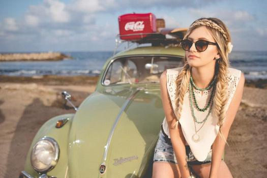 Beach, Bella, Beetle, Auto D'Epoca, Ragazza