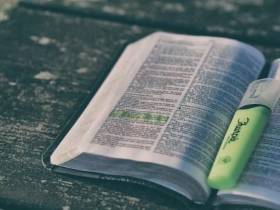 聖書, 本, 蛍光ペン, ページ, テキスト