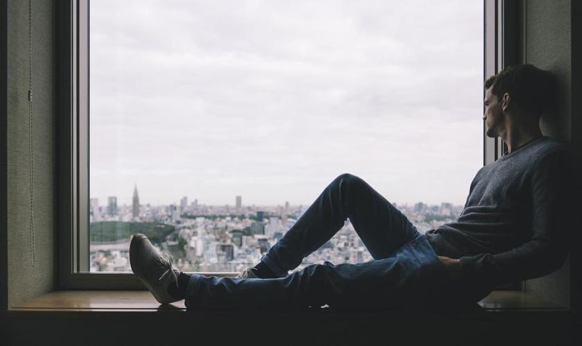 City, Man, Person, Solo, Window, Alone, Thinking, Relax