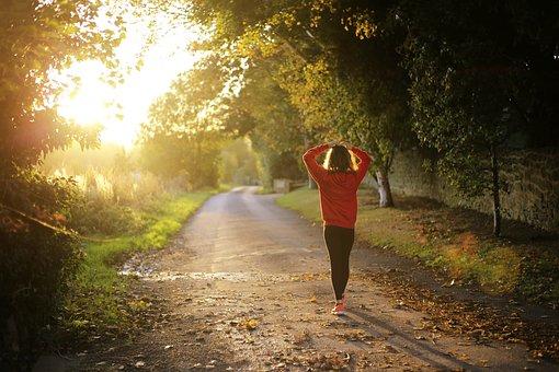 Walking, Fitness, Girl, Dawn, Fall