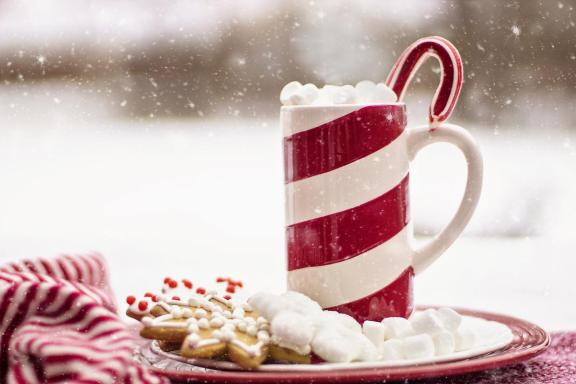 cookies with hot chocolate in a peppermint mug