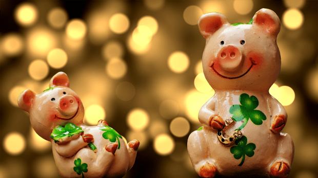 運, ピグレット, ラッキー豚, 幸運な豚, かわいい, 幸運のお守り, 種をまく, 大晦日, 新年の日