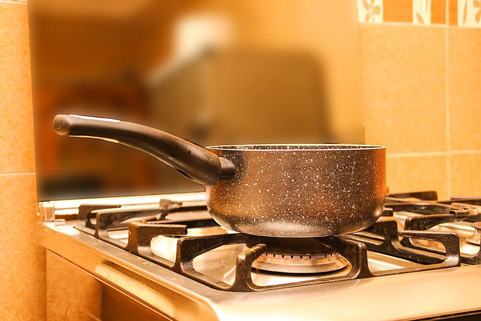 Pan, Stove, Fire, Boiling Water, Kitchen, Image