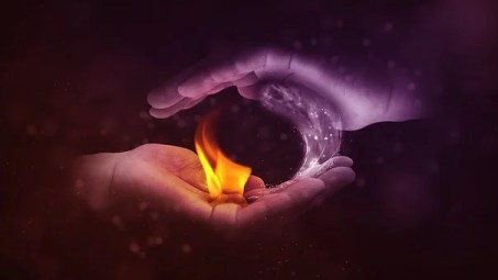 Yin And Yang, Fire, Water, Hand, masculine and feminine energy