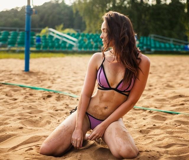 Girl Beach Volley Bikini Blonde Sand Sun Beach