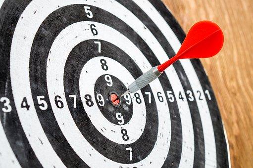 ターゲット, 目標, 成功, ダーツボード, ダーツ, 精度, 競争, 矢印