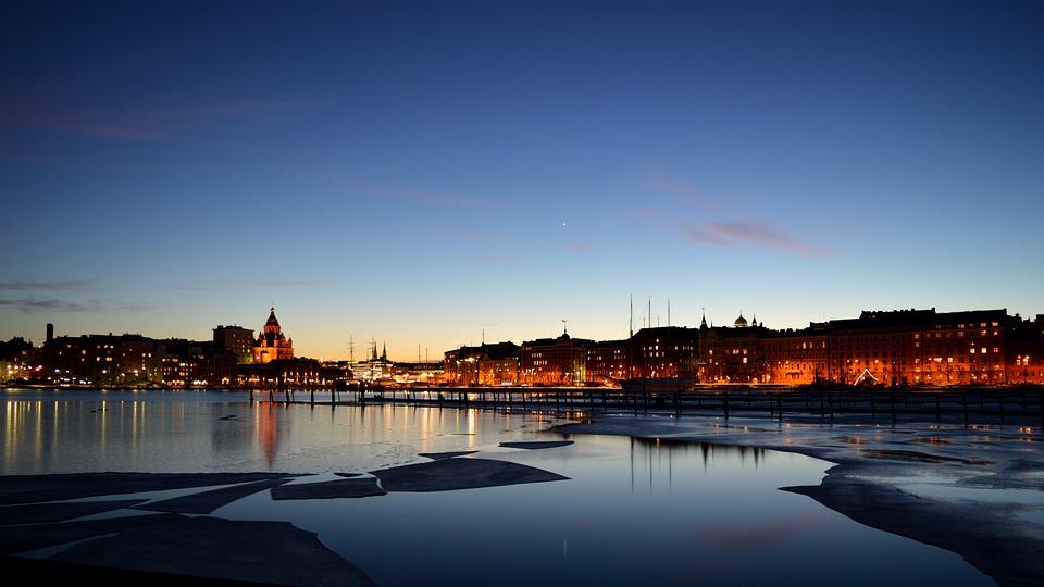 Helsinki, Finlandés, Invierno, Mar, Ciudad, Hielo