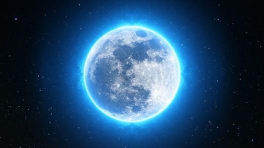 Luna Piena, Luna, Completo, Notte, Cielo, Buio, Spazio