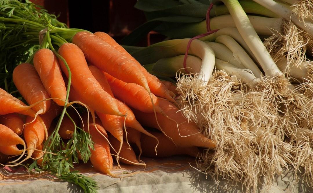 raccolto di porri e carote