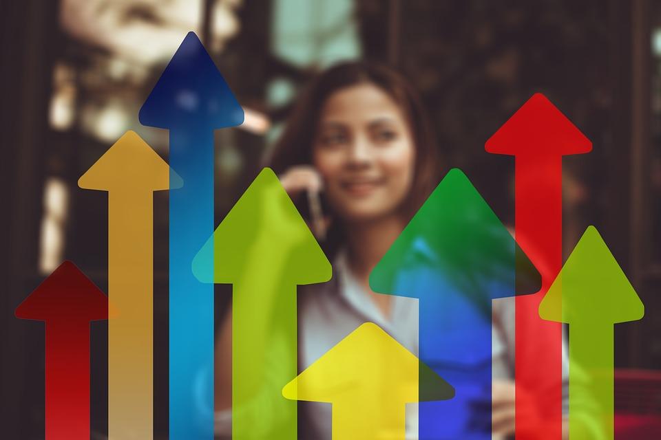 矢印, トレンド, 実業家, 女性, 経済, ビジネス, 金融, 方向, オフィス, グラフィック, バー