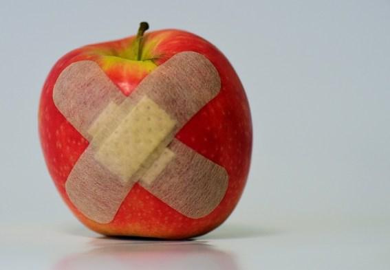 アップル, パッチ, 負傷者, 協会, フルーツ, 食品, 癒し, 繕う, 創傷被覆, 病気, 応急処置