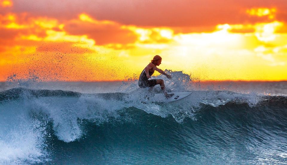 サーフィン, 夕日, 海, ジャワ島, インドネシア, 水, サーフ