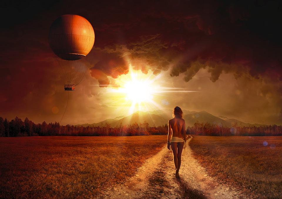 Landskap, Kvinne, Naken, Act, Naturen, Himmel
