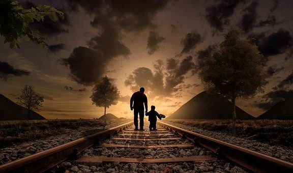 Father And Son, Walking, Railway