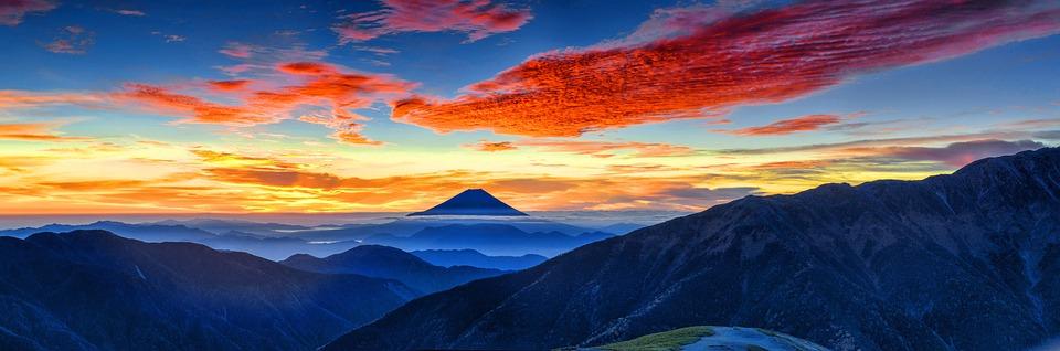 富士山, 火山, 日本, 朝焼け, 風景, 日没, ミステリー, 山, 青風景, 青色の夕日, 青い山, 青朝