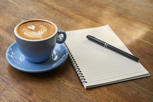 Coffee, Pen, Notebook, Open Notebook