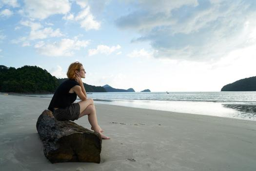 Solitudine, Donna, Spiaggia, Ritratto, Stanco, Umano