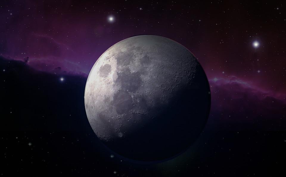 月球, 满月, 月光, 明星, 星雾, 关闭, 天空, 夜, 天文学, 月球景观, 月球环形山, 行星, 照明