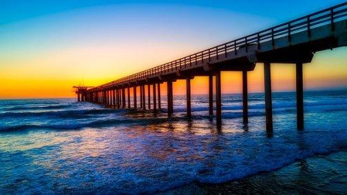 カリフォルニア州, スクリプスの桟橋, ランドマーク, 海, 海辺, 空, 雲