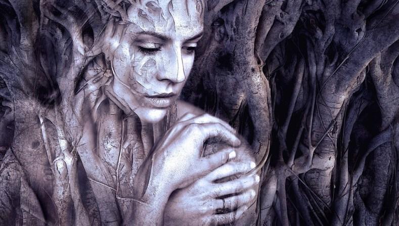 una mezcla de una imagen de una mujer y de unas ramas en las que no se sabe donde termina lo vegetal y donde empieza lo humano  https://pixabay.com/es/illustrations/componer-mujer-fantas%C3%ADa-la-cara-2391033/  https://pixabay.com/es/users/kellepics-4893063/