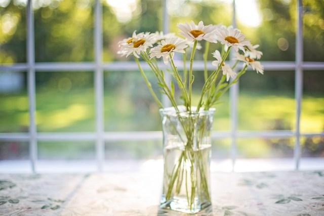 ヒナギク, 花瓶, ウィンドウ, 花柄, 花束, 花, 夏, ロマンチック, 花を咲かせる, 開花, 自然