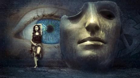 ファンタジー, シュール, マスク, 壁, 目, 神秘主義, 女の子, 気分, 神秘的な, 神秘的です