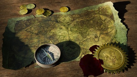 Adventure, Treasure Map, Old World Map, Compass