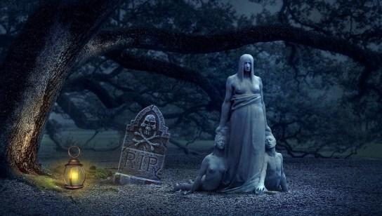 墓石, ランタン, 墓地, ファンタジー, 気味悪い, 作曲, 奇妙な, 暗闇の中, 神秘的です, 暗澹たる