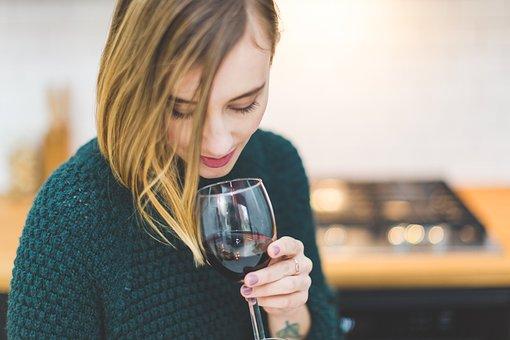 ワイン, ガラス, ドリンク, 人, 女性, 女の子, リラックス, 寒さ