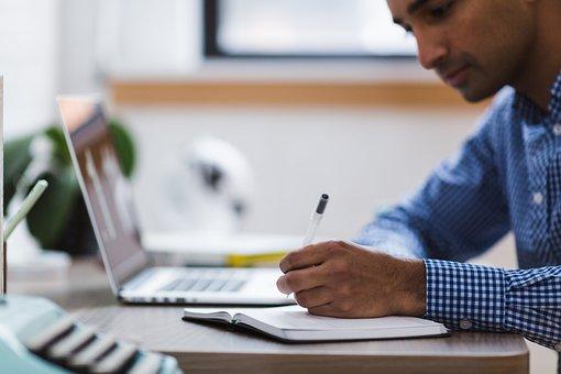 Man, Writing, Laptop, Computer, Write