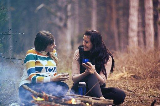 여자, 소녀, 이야기, 미소, 행복한, 우정, 좌석, 나무, Bokeh