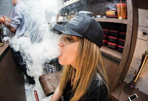 Woman, Girl, Lady, Cap, Smoke, Vape, Man