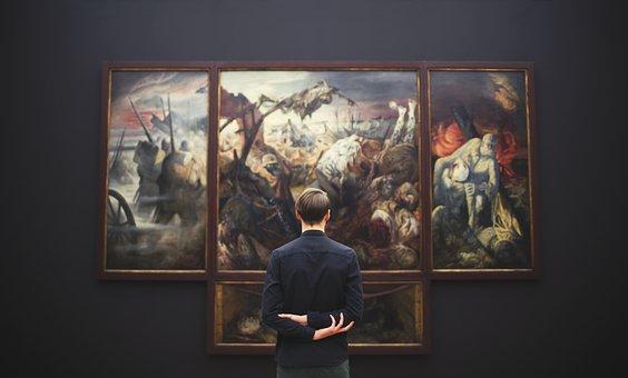 People, Man, Art, Museum, Paint, Frame