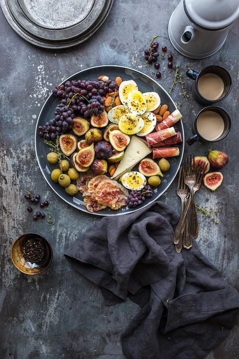 テーブル, 布, フォーク, 食品, 果物, コーヒー, 朝食, 昼食, 夕食