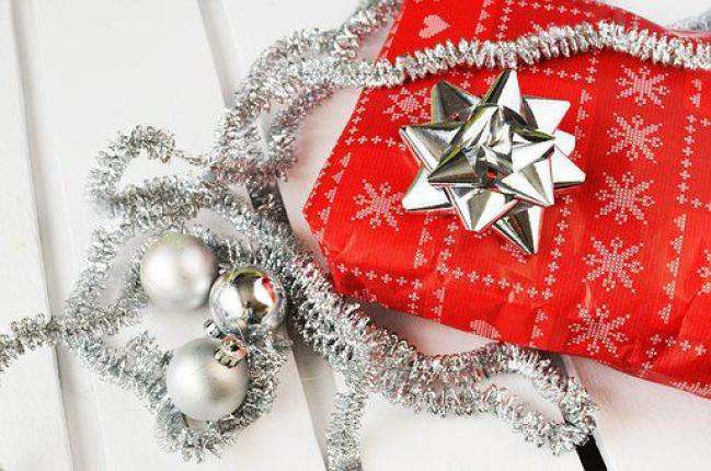 ギフト, プレゼント, クリスマス, 弓, リボン, 銀