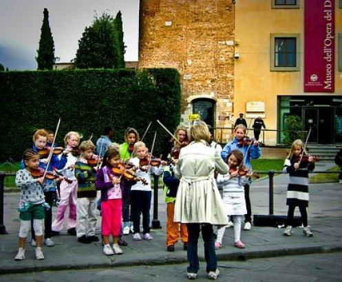 Children, Violin, Street, Instruments
