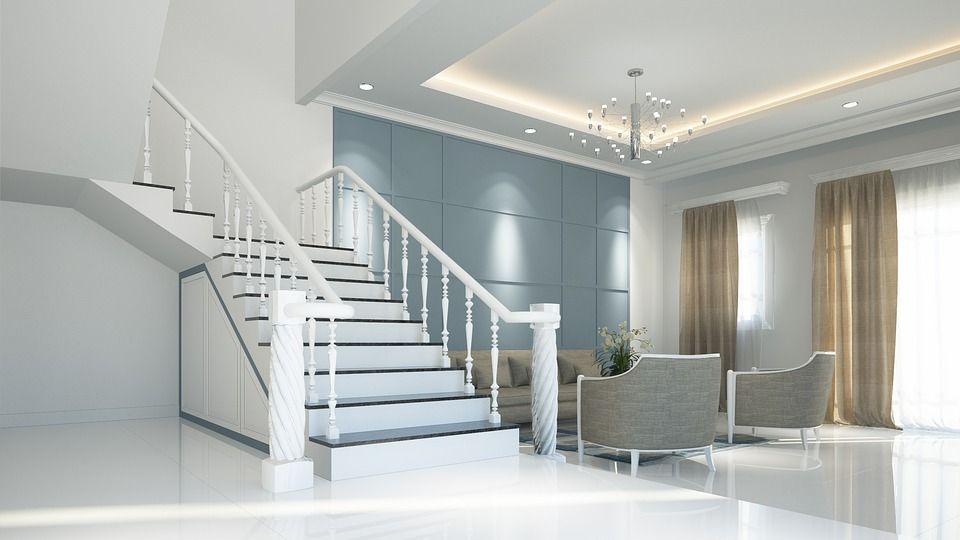 large space with stairs living room design