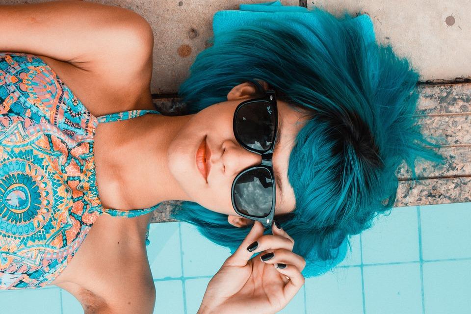 Синий, Солнцезащитные Очки, Женщина