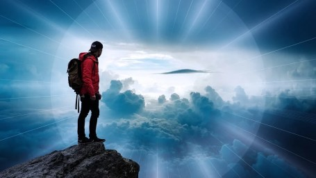 Mann, Wolken, Landschaft, Jenseits, Himmel, Strahlen