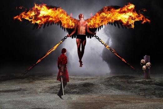 戦士, 堕天使, 悪魔, 火, 戦闘, 精神世界