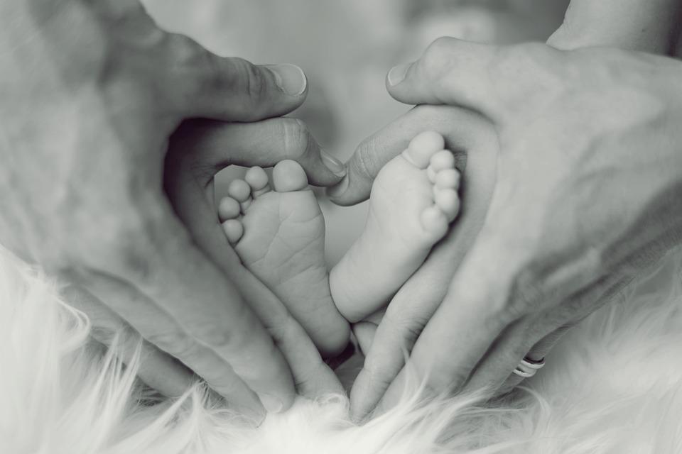 Infantil, Pies, Padre, Madre, Niño Pequeño