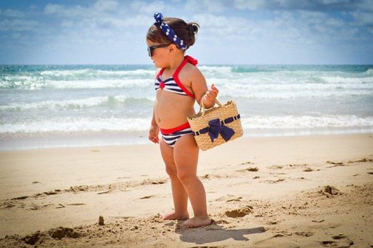 Model, Child, Beach, Childish