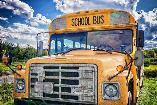 バス, 学校のバス, 車両, アメリカ, 米国, 子供達, 黄, 年, トラック