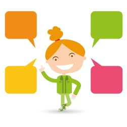 おしゃべり, 議論, 女の子, 子供, Clipart, かわいい, デザイン, 教室。, 学習