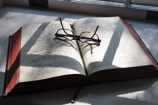 Hebrew, Glasses, Bible, Shadows, Study