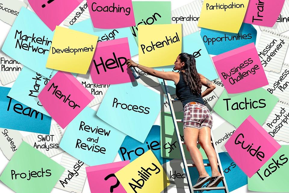 付箋, ポストで, リスト, ビジネス, キャリア, 起動します, 会社, 能力, コンセプト, 概念