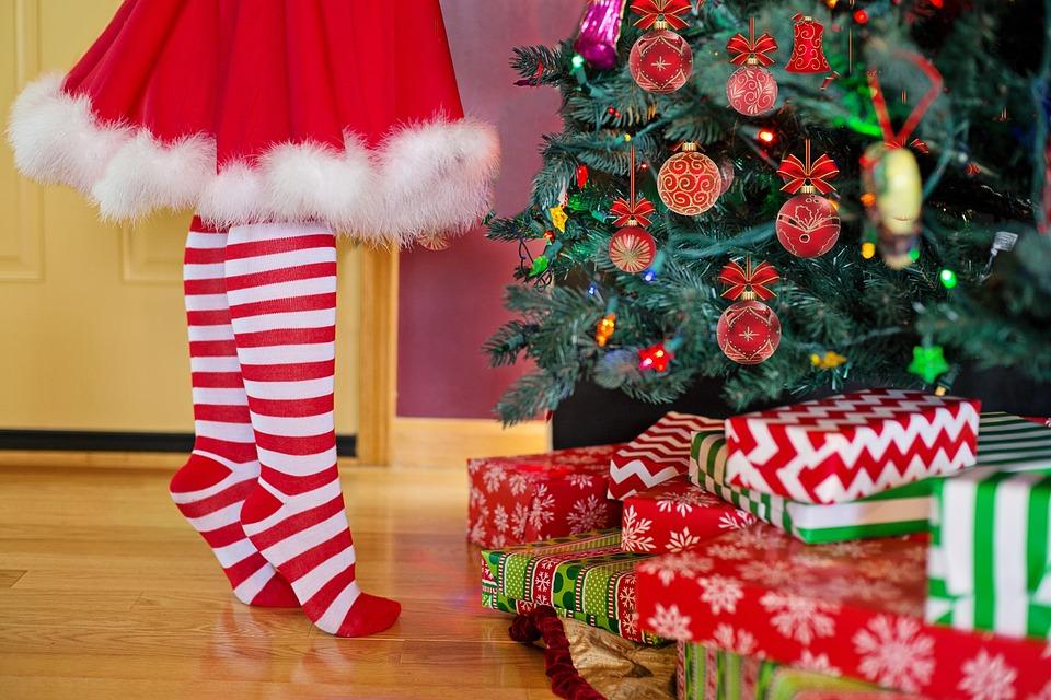 Decorating Christmas Tree, Santa, Woman, Christmas
