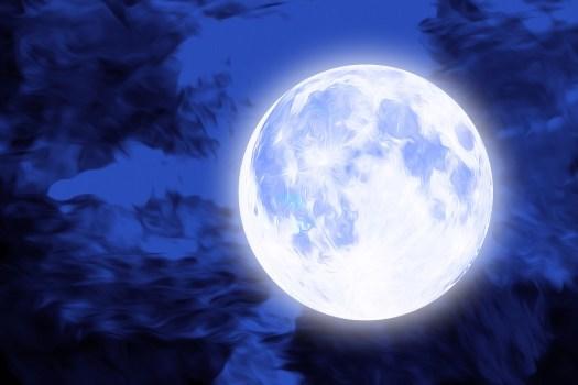 Blu, Luna, Drammatico, Notte, Cielo, Luminoso, Bagliore