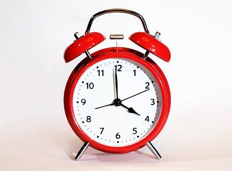 時計, クロック, アラームクロック, 締め切り, 分, ベル, 赤