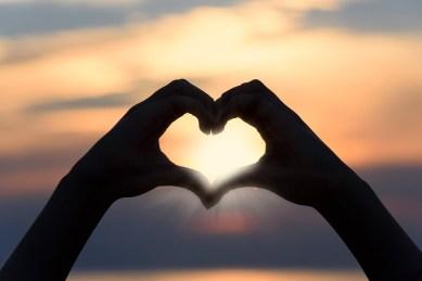 中心部, 愛, 日没, 形状, 記号, シルエット, シンボル, 夏, ロマンチック, ロマンス